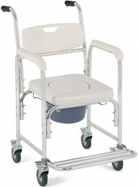 Giantex 3-in-1 Medical Transport Wheelchair Aluminum Bathroom Shower Chair, Bedside Commode