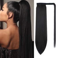 24 inch Ponytail Extension Long Straight Wrap Around Clip in Synthetic Fiber Hair for Women